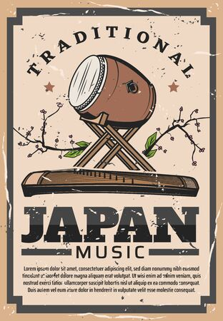 Japanese culture and traditions, national music instruments percussion Taiko drum and Koto. Vector Japan famous symbols, travel landmarks and tourist attraction vintage retro poster Illustration