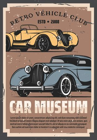 Vintage old cars show and rarity motors museum, retro vehicle vector posters. Old timer transport restoration and tuning service, auto center and mechanic garage station