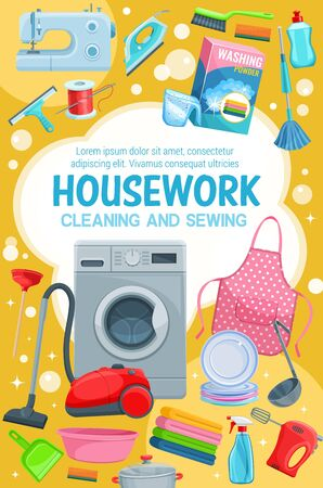 House cleaning service, professional housework laundry, washing, sewing and needlework. Vector cleaning tools and items, floor mop, vacuum cleaner, sponges, washing and sewing machine