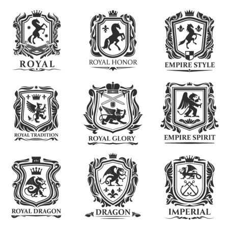 Heraldic animals, royal heraldry shields with dragons and Medieval creatures. Vector Pegasus horse and lion, imperial crown and heraldic fleur de lis coat of arms and emblems, gryphon or griffin eagle Banque d'images - 134267049