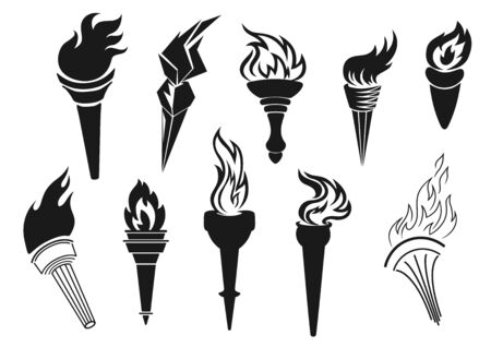 Fire torch icons, sport game championship, football soccer tournament victory and liberty symbol. Vector ancient Medieval Greek and modern light torch stick with burning flame