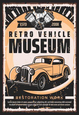 Vintage old cars museum and rarity vehicle motors show retro poster. Vector retro transport restoration works center, engine repair mechanic maintenance, diagnostics and garage station