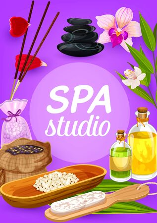 Spa beauty and health treatments vector design. Massage oil and sauna herbal lotion, bamboo, hair, face and feet bath therapy salt, mask and scrub, aromatherapy incense sticks, orchid flowers, stones