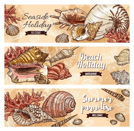 Vector holiday travel quotes, sea and ocean shells, underwater corals, summer beach vacations journey adventure and seaside resort. Seaside holidays, summer paradise beach sketch banners