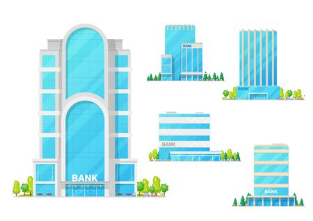 Bank buildings, city financial institution center architecture facade icons. Vector modern bank buildings, business center and finance district infrastructure with streets and cars Zdjęcie Seryjne - 134267090