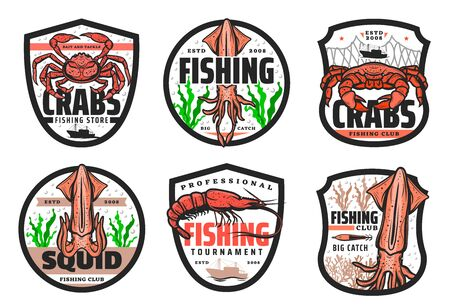 Fishing club, seafood catch tournament and fishery store icons. Vector fisher equipment tackles, rods and lures for sea crab, ocean lobster and squid, shrimp and prawn in ship net Ilustração