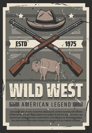 Western American legend vintage retro poster, cowboy hat and crossed rifle shotguns. Vector Wild West rodeo guns, Texas prairie buffalo bull and premium stars on grunge ribbon