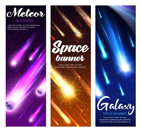 Space meteor shower with comets, stars and asteroids falling in night sky. Vector starry galaxy and universe planet banners with shooting fireballs, meteorite with bright speed trails, sparkles