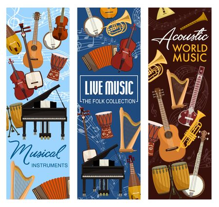 Music instruments, live folk band festival, jazz and orchestra concert banners. Vector stringed and acoustic music instruments, piano, percussion drums and harp, banjo guitar and cello