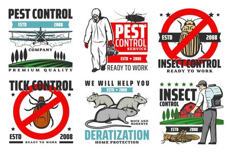 Pest control service, professional extermination, home disinsection and domestic disinfection. Vector pest control fumigation and insecticide of tick bugs, rodents and insect parasites signs