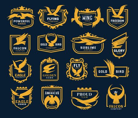 Vector heraldic golden hawk and eagle wings in shield, airlines and airport company, sport team and hunter club icons. Heraldic eagle icons, company and business identity template