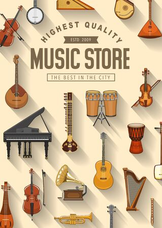 Music instruments store poster, professional pop and jazz band musical equipment. Vector folk, classic and orchestra music instruments, piano and harp, violin cello and contrabass, guitar and drums  イラスト・ベクター素材