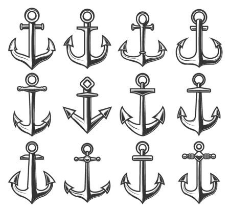 Ship anchor icons, marine adventure and sailor nautical symbols. Vector heraldic anchors isolated on white Illustration