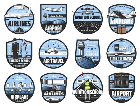 Aviation icons, pilot school and flight attendant service. Vector international flights travel, airport departure and arrival schedule, civil aviation profession, airport and airplane crew symbols