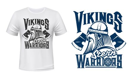 Scandinavian Vikings, vector T-shirt grunge print template mockup. Scandinavia and Nordic stern warrior man head with weapon axes in armor helmet and Agishyalm symbol on shield Illusztráció
