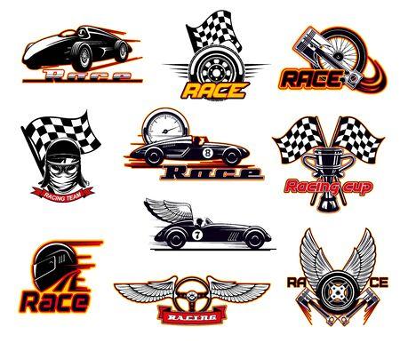 Carreras de coches, iconos de deportes de motor rápido y emblemas de clubes de carreras callejeras. Vector sportcar bólido con llamas de fuego ardiente y alas, velocímetro y válvula del motor, carreras de arrastre de deriva de rally bandera de inicio Ilustración de vector