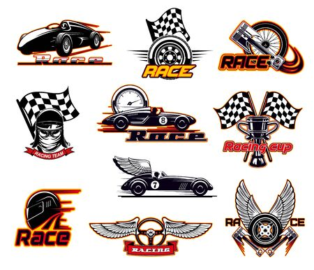 Car races, fast auto motor sport icons and street racing club emblems. Vector sportcar bolid with burning fire flame and wings, speedometer and engine valve, rally drift drag races start flag Illustration