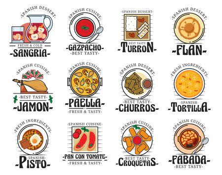Comida de la cocina española, bocadillos y postres tradicionales, platos de menú de restaurante cafetería. Vector España auténtica cocina jamón, paella y sopa de gazpacho, postre de turrón y croquetas, tortilla y churros