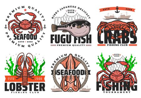 Fishing club, seafood and big fish catch tournament icons. Vector fisher equipment tackles, rod and lures for sea crab, ocean lobster, squid and Japanese fugu fish, fishery boat ships and net Standard-Bild - 134804685