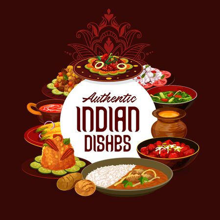 Indian cuisine restaurant menu, traditional India food dishes. Vector fish salad, perch in Bengali style and lamb meat skewers, bughi bahor snack with rice garnish and curry chicken  イラスト・ベクター素材