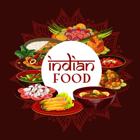 Indian cuisine, traditional India food meals and national dishes. Vector Indian breakfast and dinner food cooking recipes cover, vegetables and rice, meat and fish, tandoori, curry and masala spices