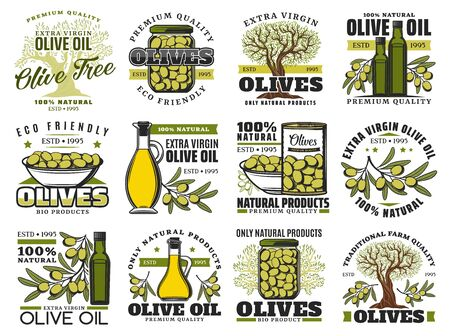 Olive food vector icons with oil bottles, olive trees, branches and leaves, fresh green fruits, marinated products in bowl, jar and can. Vegetarian cooking ingredient emblems design Ilustracja