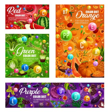 Color diet healthy food nutrition vegetables, fruits and berries, organic dietary salads and spices. Vector red, orange, green and purple color diet vitamins for detox and immune system health