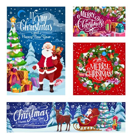 Merry Christmas and Happy New Year winter holiday Santa with gifts bag on reindeer sleigh. Vector Xmas tree wreath with decorations and ornaments in snow, holly and golden bell in snowflakes  イラスト・ベクター素材