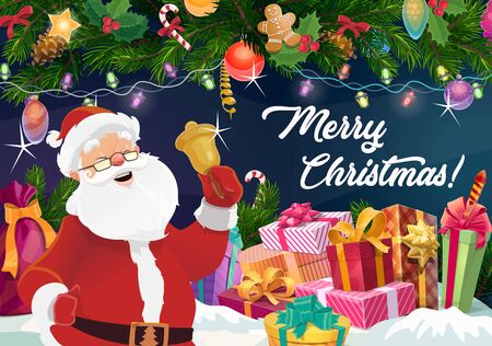Santa Claus with Christmas bell, Xmas gifts and New Year garland vector design. Present boxes and red bag with ribbon bows, winter holidays greeting card, decorated by pine branches, balls and lights Illustration