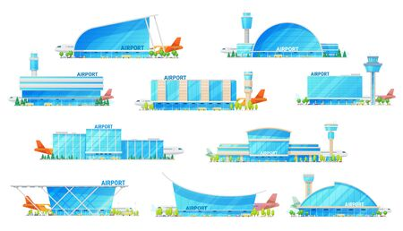 Airport building, modern architecture icons with airplane on runway and passenger terminal infrastructure. Vector isolated icons of city airport with public transport bus, metro and taxi cars