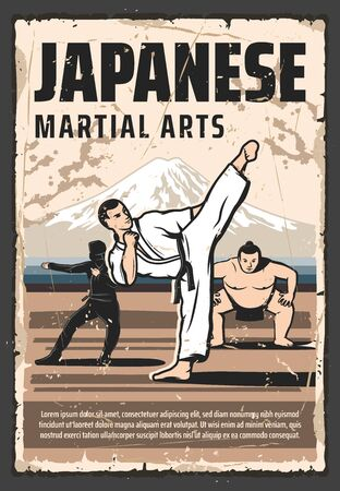 Japanese martial arts and traditional fighting culture vintage retro poster. Vector Japanese sumo wrestler, ninja, kung fu and aikido, judo and taekwondo martial arts combat fighter