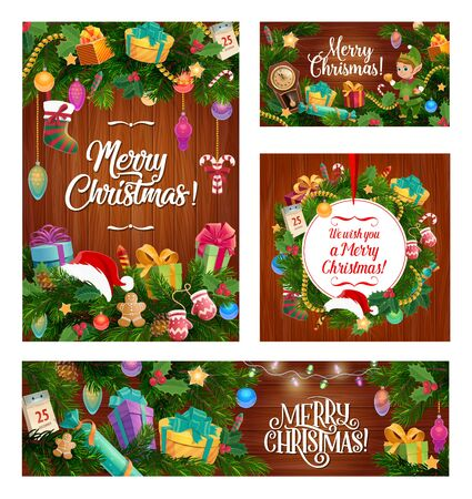 Merry Christmas calligraphy greetings and Xmas tree decorations on wood background. Vector Santa hat on Christmas wreath, golden star ornament and elf with confetti, firecracker and eve clock