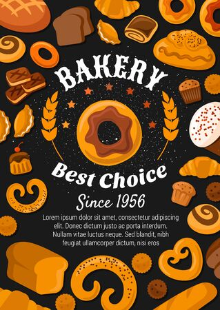 Bakery shop bread, pastry desserts and patisseries cookies poster. Vector premium bakery stars, sweet cakes, croissants and wheat bagel with rye loaf, buns, chocolate donuts and cupcakes