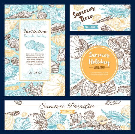 Summer vacation holidays, welcome to paradise invitation sketch and calligraphy quotes. Vector sea shells and ocean corals, holiday travel summer beach vacations journey and spa resort