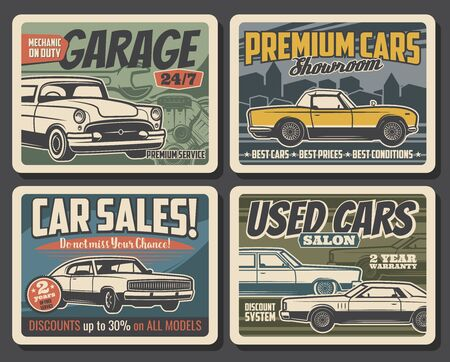 Car maintenance service, automobile repair and used auto sales center or showroom salon vintage retro posters. Vector mechanic restoration, diagnostics and vehicle repair service workshop Illustration