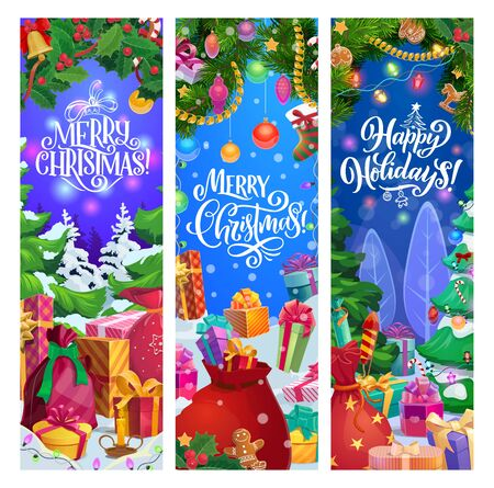 Christmas and New Year gifts vector greeting banners with winter holidays festive garland. Xmas tree and holly berry with presents, bell and ribbon bow, stocking, ball and gingerbread, snow and lights