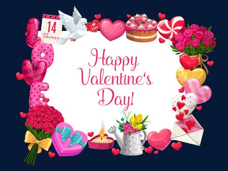 Happy Valentines day greeting calligraphy in floral frame of heart balloons, roses flowers and floral bunches. Vector 14 February Valentine love message in envelope, gifts and holiday cake Ilustracja