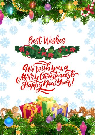 Merry Christmas and Happy New Year greetings and best wishes in Xmas tree ornaments. Vector Christmas holiday Santa present gifts, gingerbread cookies in holly, snowflakes and Xmas tree decorations  イラスト・ベクター素材