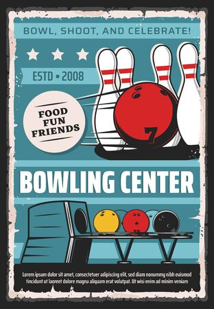 Bowling center, sport game club and league tournament vintage retro poster. Vector bowling game club, balls and skittle pins equipment for strike, hobby entertainment and professional championship Ilustracja
