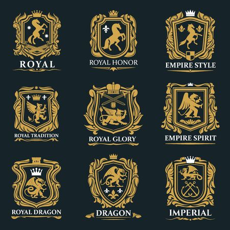 Heraldic animals, royal heraldry shields with Pegasus horse, Griffin lion and Medieval crowns. Vector imperial heraldic fleur de lis coat of arms and emblems, gryphon or griffon eagle