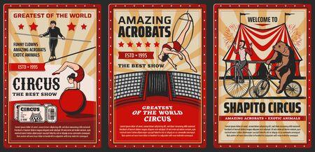Carnaval de circo y parque de atracciones, carteles retro vintage vectoriales, animales exóticos y acróbatas. Carpa de circo Shapito big top, oso domesticado en bicicleta, equilibrista en trapecio aéreo y cuerda floja