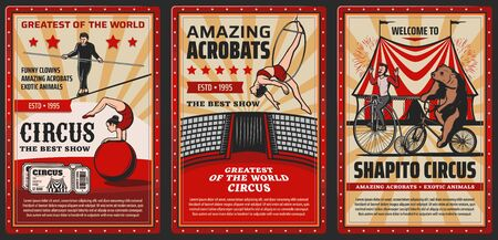 Circus and funfair carnival, vector vintage retro posters, exotic animals and acrobats. Shapito big top circus tent, tamed bear on bicycle, equilibrist on aerial trapeze and tightrope walking