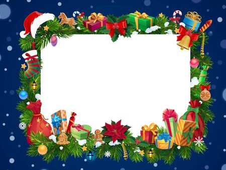 Christmas frame of New Year garland with blank card in center vector design. Xmas gifts, stocking and bell on snowy pine and holly tree branches, presents, Santa hat and red bag, gingerbread and balls Standard-Bild - 134627682