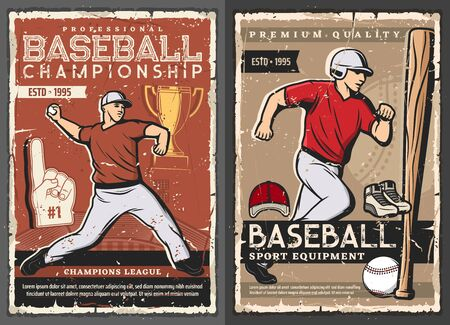 Baseball victory cup championship and professional spot batter bat, glove and ball equipment shop. Vector vintage retro posters, softball team and college league club players tournament Foto de archivo - 134804843