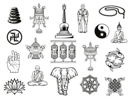 Buddhism religion sketches with Buddhist religious symbols. Vector Buddha, dharma wheel and ying yang, lotus, tibetan monk prayer wheels and meditation beads, temple stupa, om mudra, vase and parasol Illusztráció