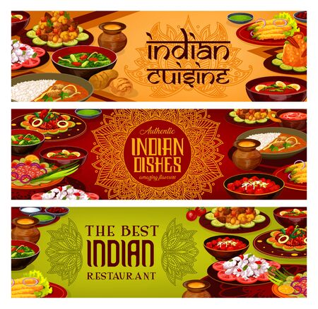 Indian cuisine banners, India traditional authentic food dishes menu. Vector Indian restaurant breakfast and dinner dishes, tandoori meat and curry fish, vegetables, rice and masala spices