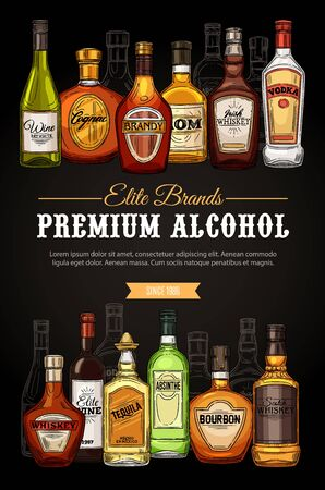 Alcohol drinks, premium beverages bar menu, store sketch poster. Vector elite quality brand vodka, Irish and Scotch whiskey and wine, elite cognac with absinthe, tequila and bourbon bottles 向量圖像