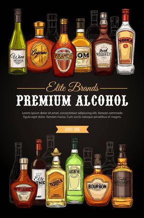 Bevande alcoliche, menu bar di bevande premium, poster di schizzi del negozio. Vodka di marca di qualità d'élite vettoriale, whisky e vino irlandese e scozzese, cognac d'élite con bottiglie di assenzio, tequila e bourbon