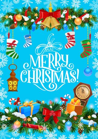 Merry Christmas greeting, decorations and gifts with snowflakes pattern frame. Vector Christmas tree wreath with golden bells, Xmas eve clock and Santa gift socks with candles and candies Standard-Bild - 134627778