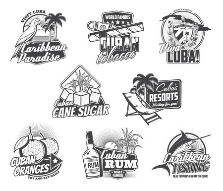 Cuba Havana travel, Caribbean holidays paradise and Cuban cigar icons. Vector Viva Cuba sign with map and flag, sea fishing tours, rum cocktail and tropical hotel resort, oranges and cane sugar Illustration